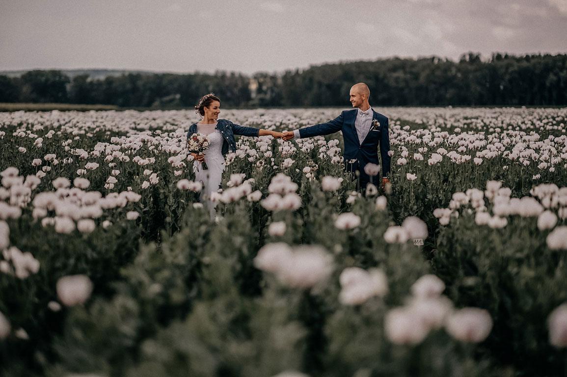 Nevěsta s ženichem jdou za ruce a usmívají se na sebe v poli s rozkvetlým bílým mákem