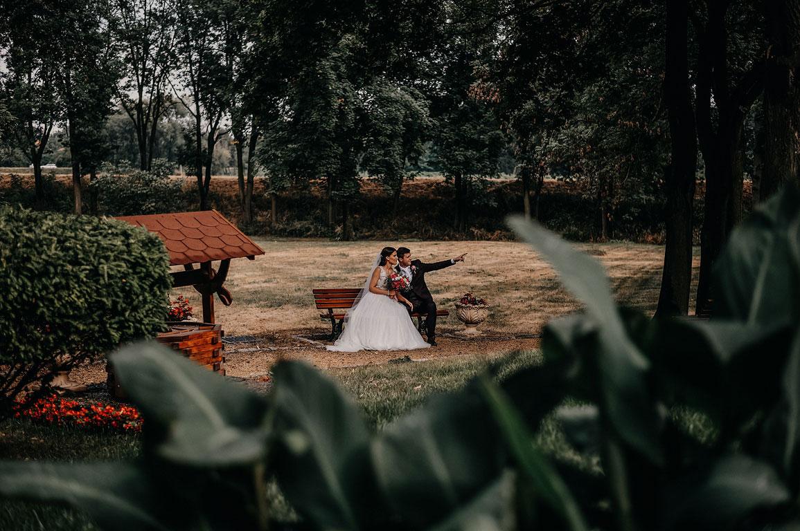 Ženich s nevěstou sedí v parku na lavičce a ženich ukazuje směrem před sebe