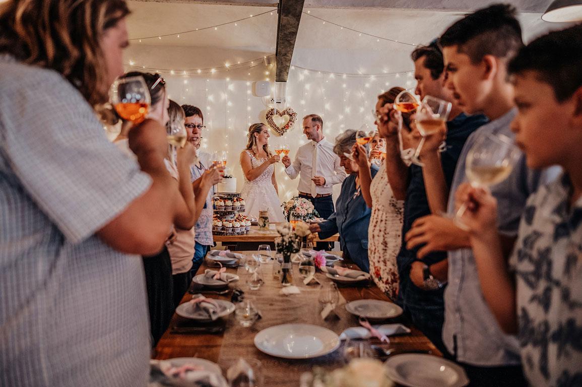 ženich s nevěstou společně se svými svatebními hosty si připíjejí